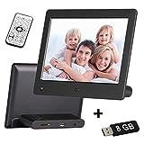 netshop 25 Digitaler Bilderrahmen 8 Zoll (20,3 cm) + 8 GB USB Stick. LED-Display 1280 x 768 mit Uhr/Kalender/Foto/Musik/Videoplayer, Diashow, Bewegungssensor, Timer on/Off, schwarz