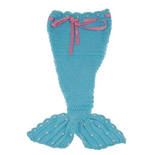 Ogquaton Einzigartige Baby Mermaid Crochet Suit Handgestrickte fotografische Kleidung Infant Girl Dress Up Liefert 3 Stück Set