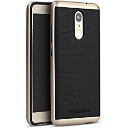 iPaky Luxury Ultra-Thin Dotted Silicon Back + PC Gold Frame Bumper Back Case Cover for Xiaomi Redmi Note 3 ,Gold