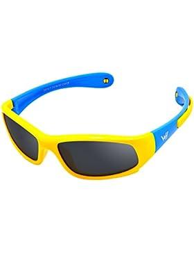 Bambini Wrap Sport Polarizzati Occhiali da Sole di WHCREAT Montatura in gomma flessibile con cinturino antiscivolo...