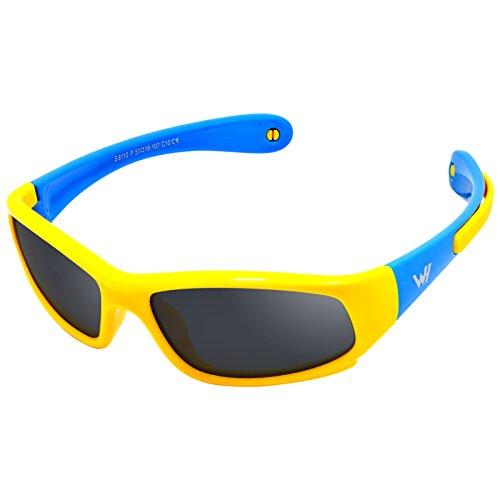 52dde0dc18 Kids Wrap Sport Polarized Sunglasses by WHCREAT Flexible Rubber Frame with  Anti-slip Band for Girls Boys Children Age 3-6 - Yellow Blue Frame Black  Lens ...