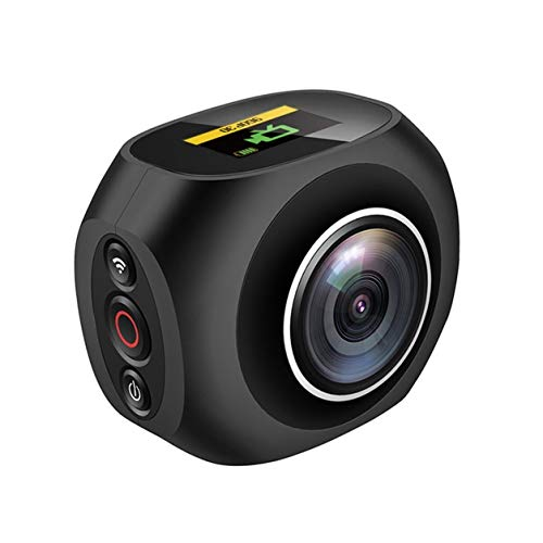 Telecamera panoramica 4K HD 360 ° panoramica VR Videocamera Wi-Fi esclusiva Dual Lens WiFi Video (Colore: nero)