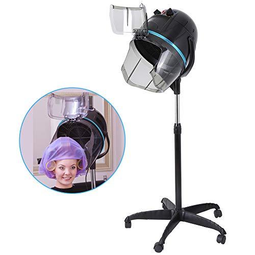 Casco asciugacapelli professionale In piedi con cappuccio e ruote, Timer e controllo della temperatura, parrucchiere attrezzatura per Barbiere Salone, Altezza regolabile, 1000W