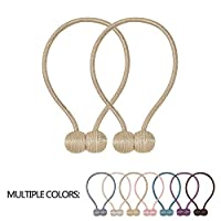 VEERUN Magnetic Curtain Tiebacks 2 Pack Convenient Drape Holdbacks 16 Inch Modern Weave Rope Tie Backs European Style Window Decorative Holder Gold