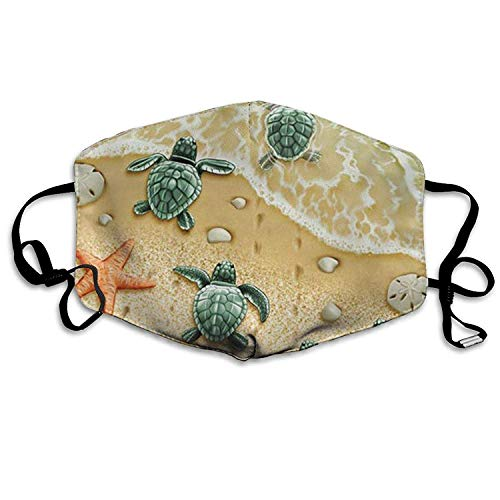 Fashion Outdoor Mouth Mask, Face Masks with Design, Face Masks Anti-Dust Flu Mouth Mask - Turtles On The Beach Face Mask - Unisex Mouth Mask Turtle Fur Fleece Neck