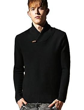 WTUS Crew Knit,Suéter de Moda de Algodón para Hombre Juventud,Gris/Negro