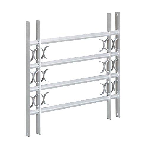 Relaxdays Fenstergitter Einbruchschutz, Ausziehbar, Aussen, Verzinkt, Stahl, 600 x 700-1050 mm, Sicherheitsgitter, grau
