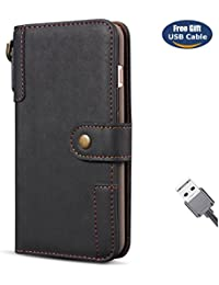 Funda iPhone 8 Plus,Funda Cover iPhone 7 Plus,Aireratze Slim Case de Estilo Billetera Carcasa Libro de Cuero,Carcasa PU Leather Con TPU Silicona Material retro de cuero de vaca con [Correa de mano] Case Interna Suave [Función de Soporte] [Ranuras para Tarjetas y Billetera] [Cierre Magnético] para Apple iPhone 8 Plus/iPhone 7 Plus (negro) (+ Cable USB)