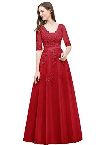 Misshow Damen Elegant Abiballkleid Lang Rot Abendkleid Spitze Prinzessin Abiballkleid Prom Kleid