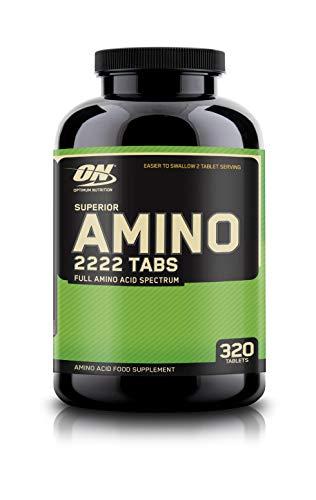 Optimum Nutrition Amino 2222- essentielle Aminosäuren (mit Verzweigtkettige Aminosäuren) BCAA Tabletten von ON- Unflavoured, 160 Portionen, 320 Kapseln -