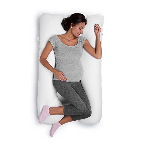 Cuscino da allattamento, ideale anche in gravidanza o per dormire comodi su un fianco, 130x 80cm, colore: bianco
