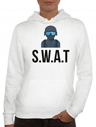 ShirtStreet Fasching Karneval Damen Kapuzenpullover mit SWAT Kostüm 2 Motiv, Größe: S,Weiß