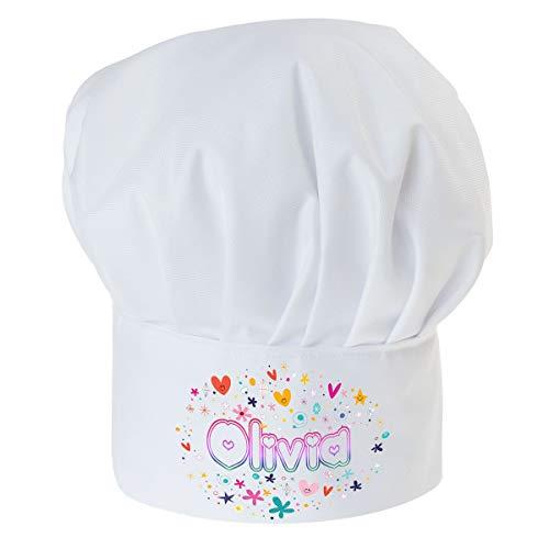 Personalisierte Kochmütze Für Kinder Jungen und Mädchen Weiß Kochhaube mit Ihrem Wunschtext/Grafik Klettverschluss Süß mit Namen [099]