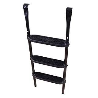Ampel 24 Trampolin Leiter 110 cm lang, Treppe mit 3 Breiten Stufen, praktischer Einstieg für große Gartentrampoline, schwarz