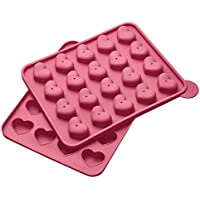 Lurch 83024 Flexi Form Cake Pops Herz 20-fach, Silikon, pink, 20 x 24 x 3,7 cm
