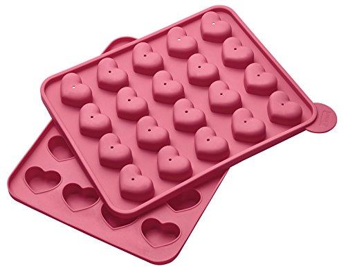 Lurch FlexiForm Cake Pops Herz 20fach, Silikon, pink, 20 x 24 x 3.7 cm