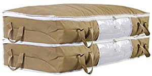 HomeStrap Big Under Bed Storage/Organizer for Quilts, Comforters, Blanket Storage with Large Front Window - Beige - Pack of 2