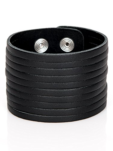 Lederarmband Herren schwarz breit Leder Armband Herrenarmband echtes breites Leder Wickelarmband Surfer Style größenverstellbar