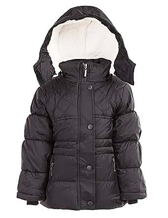 24brands Kinder Jungen Mädchen Jacke Winterjacke Steppjacke warm gefüttert mit Kapuze - 2986, Größe:104-110;Farbe:Schwarz 2