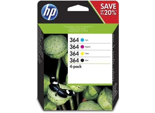 HP 364 N9J73AE Cartucce Originali per Stampanti a Getto di Inchiostro Photosmart B210c, B110c, B110e, B8550, 7520, Deskjet 3520, 3522, 3524, Confezione da 4, Nero, Ciano, Giallo, Magenta
