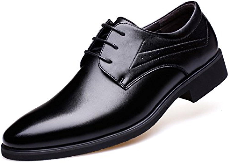 LEDLFIE Zapatos De Cuero De Los Hombres Zapatos De Negocios De Encaje Redondo -