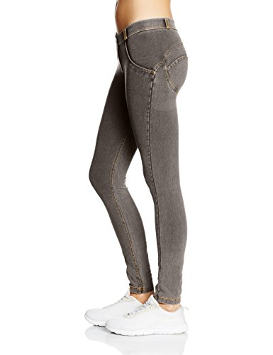 FREDDY - Pantalone Lungo, Skinny Jeans Donna Grigio (Jeans Grigio/Cuciture Gialle)