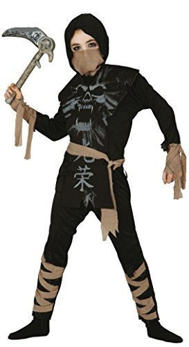 Ninjas Halloween Kostüme 3 (Jungen Skelett Ninja Halloween Samurai Buch Tag Fancy Kleid Kostüm Outfit - Schwarz, 3-4)