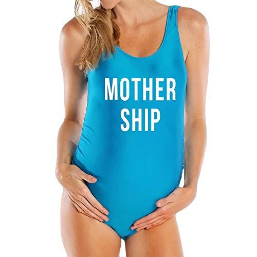 LSAltd 2019 Einteilige Frauen Mutterschaft Schwimmen Kostüm Badeanzug Mutter Mode Brief Drucken Schwangerschaft Badebekleidung Damen Elastische Strampler Bikini Für ()
