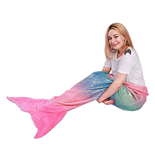 softan Meerjungfrau Schwanz Decke für Erwachsene, warme Flauschige weiche Flanell Fleece-Decke, All-Saison-Schlafdecke, Frauen, 63x152cm -