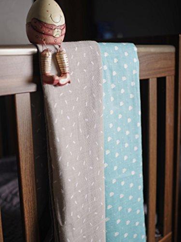 Bio Baby-Mulltücher von Dinky D - 100% Bio-Baumwolle, 120cm x 120cm, Packung enthält 2 weiche Mulltücher - vielseitig im Alltag einsetzbar ob zum pflegen, wickeln, schlafen oder als Geschenk zur Gebur