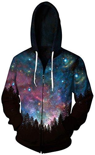 TDOLAH Herren Spaß Hoodie Sweatshirts 3D Digital Print Kapuzenpullover mit Reißverschluss (2XL / 3XL, Wälder-blauer (Kostüme Oktoberfest Himmel)
