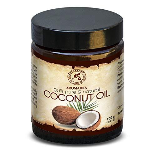 Olio di Cocco non Raffinato 100ml Naturale e Puro al 100% Olio Cocos Nucifera Spremitura Freddo Ideale per Capelli Pelle e Corpo Bellezza Massaggio