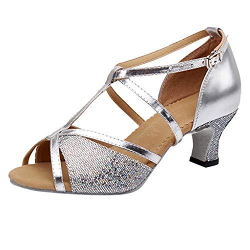Dasongff Damen Sandalen Ausgestelltes Heel Super-Satin Latein Strass Tanzschuhe 5cm Abendschuhe