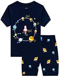 Pijama corto para niños pequeños con diseño de dinosaurio y tren de algodón PJS, 2 piezas, ropa de dormir para niños de 1 a 10 años