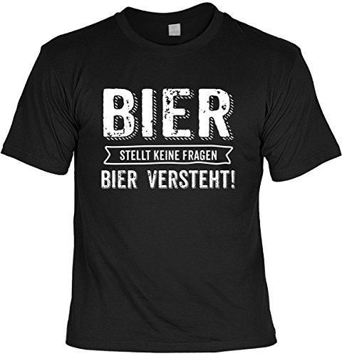 Fun T-Shirt Bier stellt keine Fragen Shirt 4 Heroes geil bedruckt Geschenk Set mit Mini Flaschenshirt Schwarz
