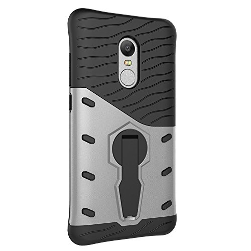 Für Xiaomi Hongmi Note 4 & 4x Fall Neue Rüstung Tough Style Hybrid Dual Layer Rüstung Defender Soft TPU / PC Rückseiten Cover Case mit 360 ° Stand [Shockproof Case] ( Color : Black ) Silver