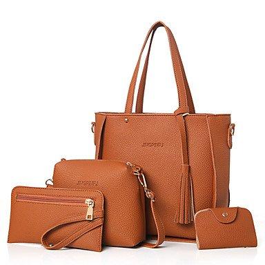 Donne Borsa a tracolla PU All Seasons Evento Casuale/Festa Shopper rivetto Zipper grigio marrone pallido rosa Ruby nero,marrone Brown