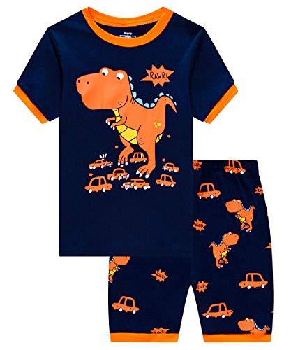 MIXIDON Jungen Schlafanzug Kinder Dinosaurier Pyjamas Sets Kleinkind Pjs Nachtwäsche 2-8 Jahre - Jungen 3 Stück Schlafanzüge
