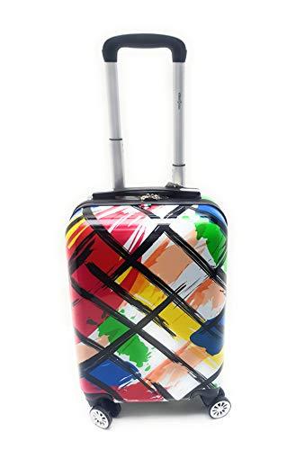 Trolley Bagaglio a Mano Ryanair Priority Abs Lucido con Disegno 8 Ruote Idoneo Cm.55x40x20 misure effettive cm.52x35x20 (Colors)