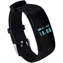 BQWA® Reloj Inteligente Smartwatches Nueva banda de pulsera inteligente D21 Bluetooth Smartband Monitor de ritmo cardíaco Smart Wristband Tracker Fitness Watch para Android e IOS , black