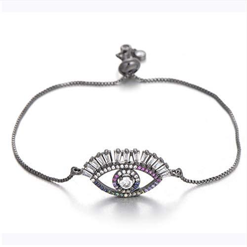 Princess Cut Shiny Zirkon Lange Wimpern Evil Eye Armband Für Frauen Männer Slider Kette Charme Armbänder (Princess-wimpern)