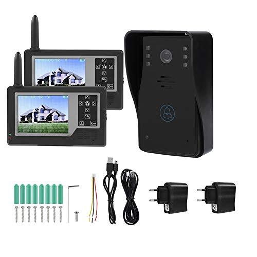 Garsent Video Türsprechanlage Gegensprechanlage, 3.5 Zoll LCD Monitor WiFi Video Intercom Türklingel mit Nachtsicht Kamera für 1/2 Familienhaus(2 Monitor) (Intercom-wifi)