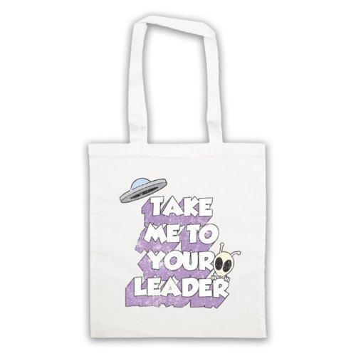 Take Me To Your Leader Funny Slogan-Borsa Sci Fi Bianco