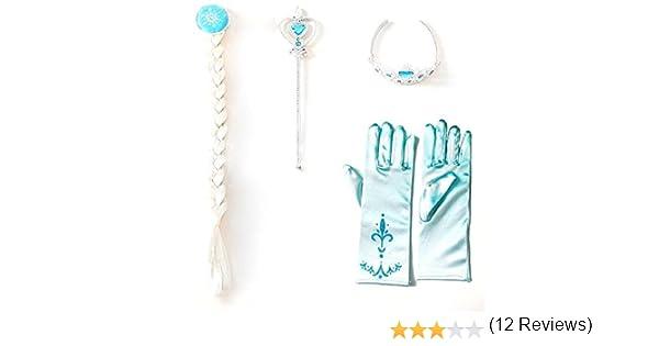 Elsa Inception Pro Infinite 4 Accessori Costume Bacchetta Guanti Halloween Frozen Carnevale Treccia Corona