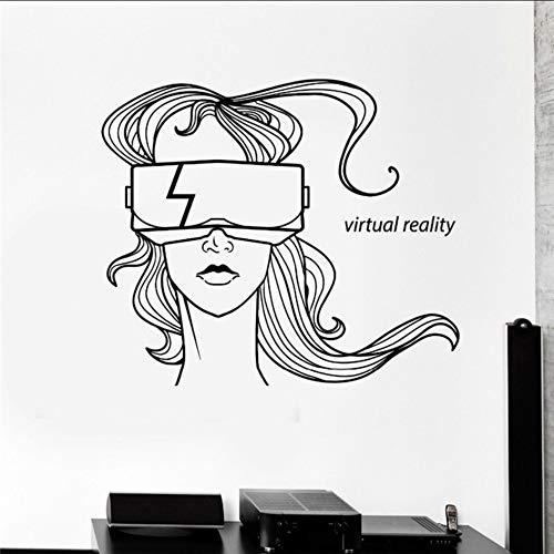 Virtuelle Realität Worte Wandkunst Aufkleber Wohnkultur Wohnzimmer Schaufenster Dekoriert Vinyl Wandtattoos Headset Brille Mädchen 42 * 51 cm