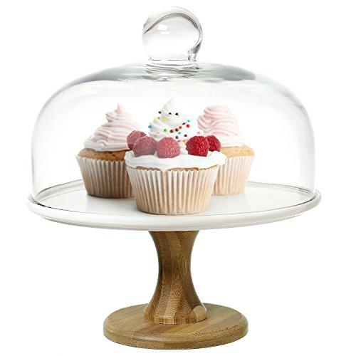 Käse-vitrine (22,9cm rund Holz & Weiß Keramik Ständer Dessert Kuchen Ständer, Servierplatte mit Glas klar Dome Deckel)