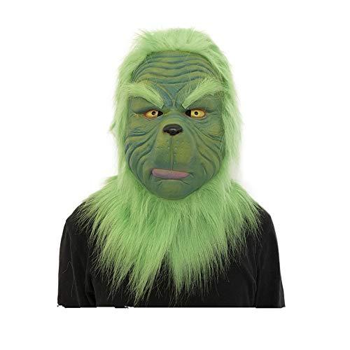 Gusspower Scary Mask Spielzeug, Cosplay Weihnachten Grinch Maske Schmelzen Gesicht Latex Kostüm Sammlerstück Prop Neuheit Horror Adult Kostüm Zubehör (Grün A) (Grinch Kostüm Maske)