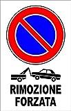 CARTELLO SEGNALETICO - RIMOZIONE FORZATA - Con Adesivo in Vinile e Pannello in Forex (ADESIVO + PANNELLO, 20 X 31)