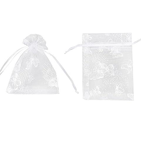100x Pochette cadeau 12x9cm Sac Organza Blanc de Papillons Argentés bijoux dragées faveur pour mariage