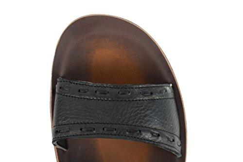 Herren Leder schwarz braun für große offene Zehen Mule Urlaub Sandalen Beach Flip Flops Schwarz